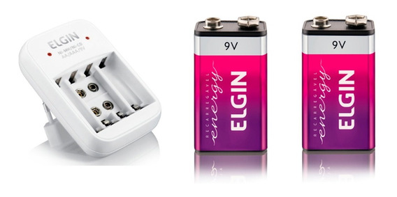 Carreg. Elgin + 2 Baterias Elgin De 9v
