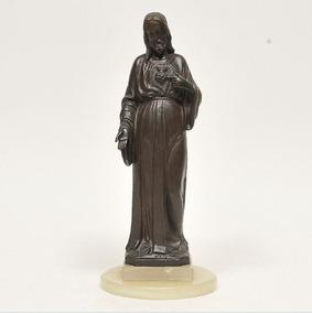 Antiga Escultura Arte Sacra Coração Jesus Bronze Alabastro