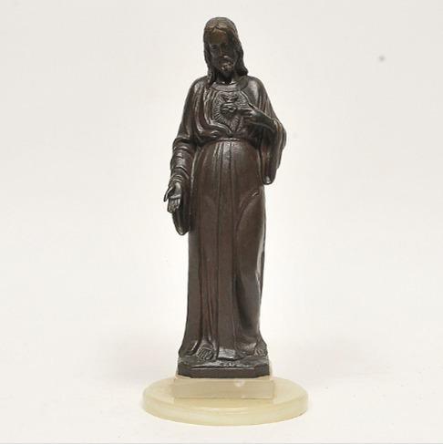 Antig Escultura Sacra Cristo Jesus Sagrado Bronze Alabastro