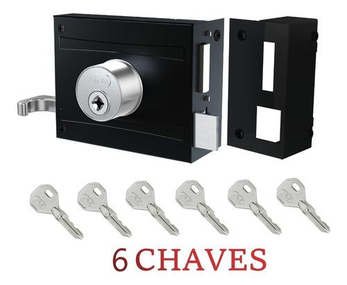 Fechadura Portão Sobrepor Tetra Stam 1701/100 Com 6 Chaves