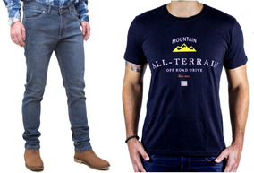Kit Masculino Calça Jeans Stone Camisa Preta Atr All Terrain