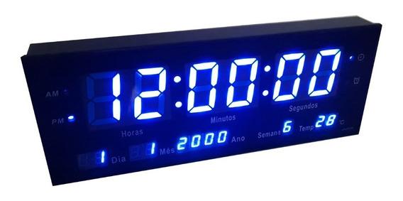 Relógio De Parede Grande Led Digital Alarme Br - Azul 33cm