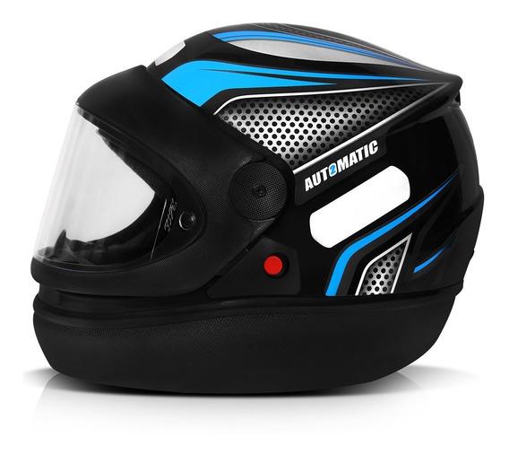 Capacete Moto Azul Automático