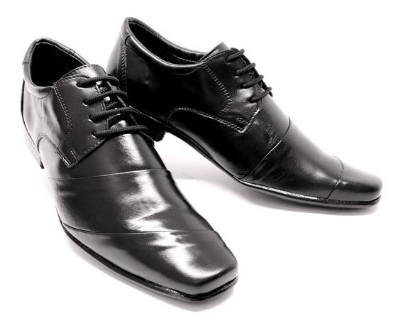 Sapato Social Masculino De Leoppé Em Couro Preto E Marrom De Cadarço