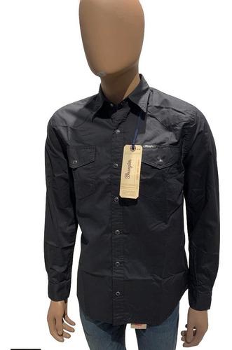 Camisa De T/ Jean Poplin Wrangler Hombre Original Nega