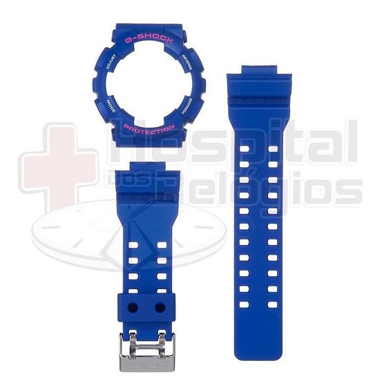 Kit Capa Pulseira Casio Ga-100 Ga-110 Gd-120 Azul G-shock
