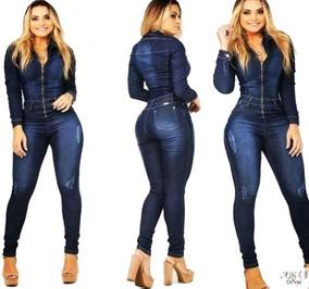 6e7932a42 Lindo Macacão Jeans Com Ziper - Macacão no Mercado Livre Brasil