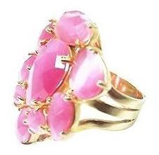 Anel Feminino Cristal Rosa Fusion Banho Á Ouro