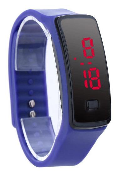 Moda Led Pulseira Digital Relógios Unissex Esportes Azul)