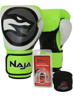 Kit Muay Thai Boxe Naja Luva Colors Verde + Bandagem + Bucal
