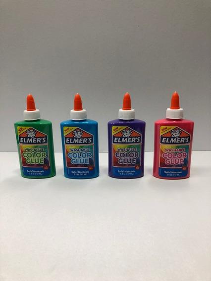 4 Adhesivos Elmers Slime Color Glue X 147ml C/u