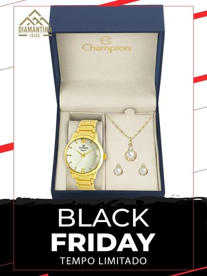 Relógio Feminino Champion Cn25529w Com Kit Semijoias