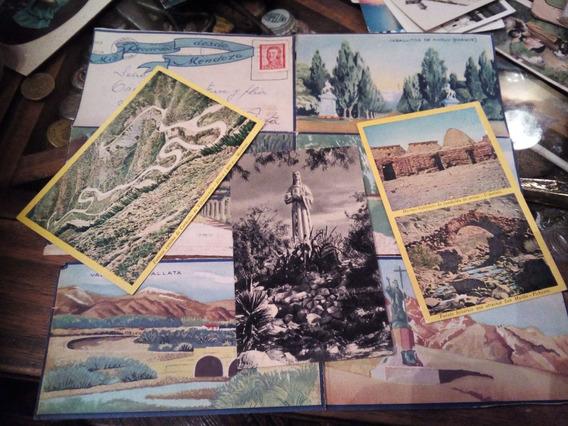 Mendoza Set De 3 Postales Antiguas Y Carta Ilustrada