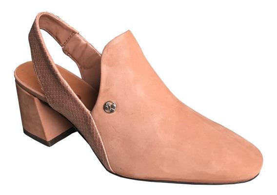 Sapato Scarpin Bottero 315503 Couro Nobuck Salto Grosso