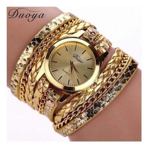 Relógio Feminino Dourado Com Pulseira De Couro E Metal