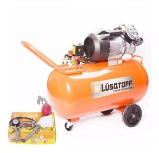 Compresor 100 L Bicilindrico 4 Hp Lusqtoff Con Kit 5 Piezas