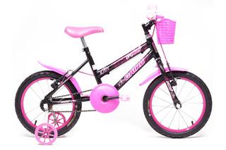 Bicicleta Aro 16 - Infantil - Cairu - Preta Com Rosa