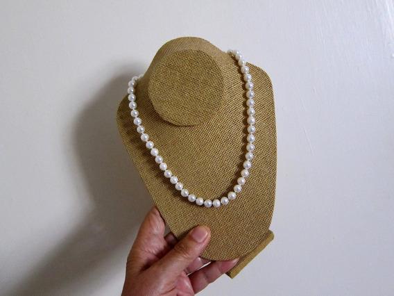 Collar De Perlas Blancas Akoya Naturales Cultivadas En Japón