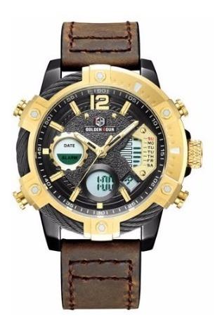 Relógio Masculino Esportivo Golden Hour Pulseira De Couro