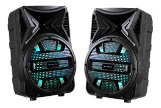 Dos Parlantes Portátiles Alienpro Geminis Bluetooth Con Leds