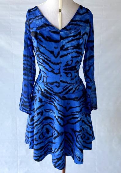 Vestido Azul Manga Longa Animal Print Tam M