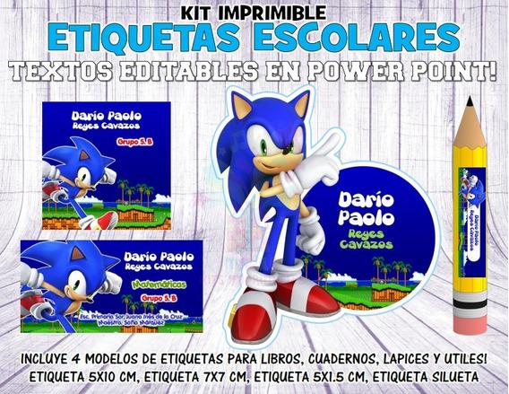 Kit Imprimible Etiquetas Escolares Sonic S19