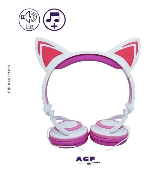 Fone De Ouvido Orelha De Gato Com Led Celular Computador P2