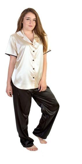 Conjunto De Pijama Lionella Satin Pantalón Camisa Botones