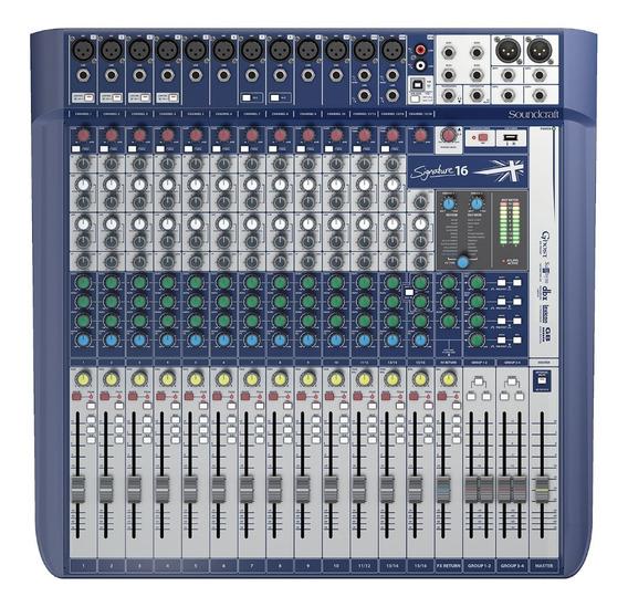 Mesa De Som Signature 16 Canais Mixer Usb - Soundcraft + Nf