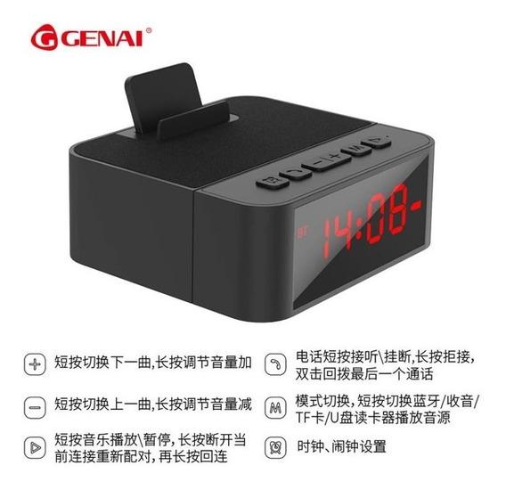 Relógio Despertador Digital Bluetooth Ganei Bx10 Com Base