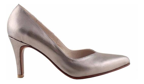 Zapato Vestir Cuero Mujer Stiletto Taco Briganti Mccz03474