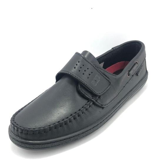 Zapato Colegial Náutico Con Abrojo Negro - Scarpino