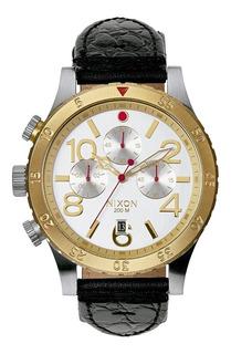 Reloj Nixon 48-20 Chrono Leather Antique Silver