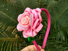 Tiara Com Flor Rosa 1 Unidade Proxixo Arts