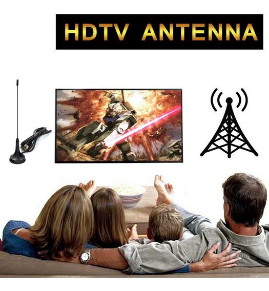 Mini Antena Digital Uhf Vhf Fm Canais Aberto Full Hd 1080p
