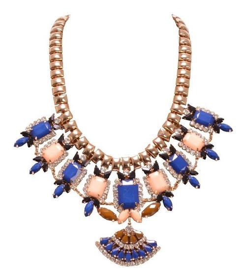 Collar Cleopatra Coral, Azul Y Café