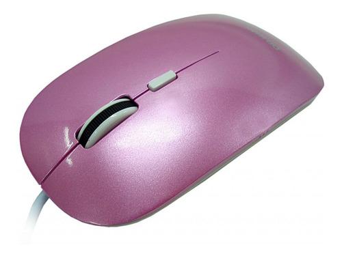 Mouse Óptico Slim Lente Dupla Rosa C/ Branco - Usb