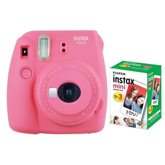 Câmera Instantânea Fujifilm Instax Mini 9 Rosa Flamingo+pack