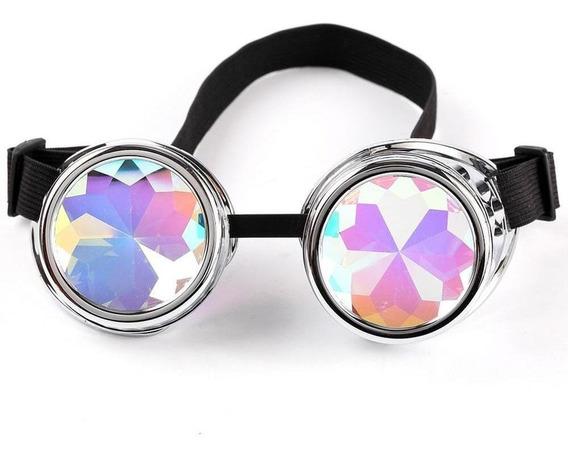 Silver - Diamante Color Lente Steampunk Vintage Gafas S-7831
