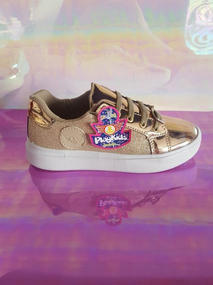 Tenis Niña Casual Dorado Brillos Moderno Oro Sneakers