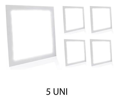 Kit 5 Painel Plafon Led 18w Quadrado Embutir Branco Frio