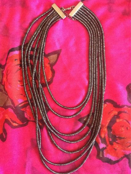 Colar Longo Camadas Cinza Chumbo Metalizado Novo Kim Kardash