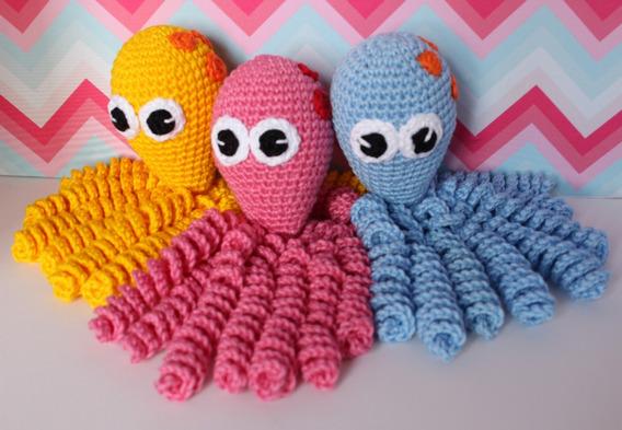 Polvo De Crochê Terapêutico Amigurumi Bebês Cores Diversas
