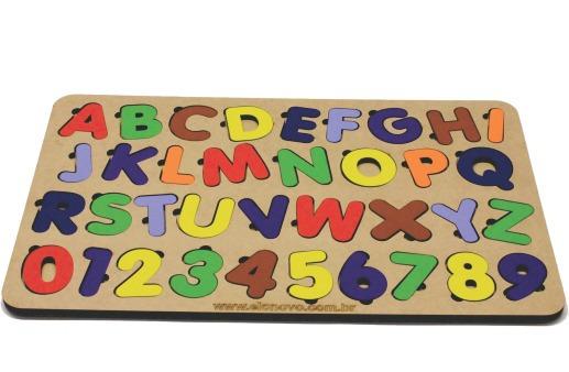Jogo Encaixe Educativo Tabuleiro Alfabeto E Número Brinquedo