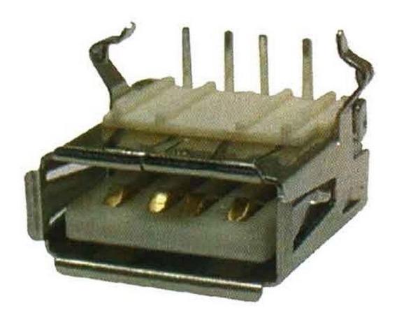 Conector Usb Fêmea 4 Pinos 90 Graus - Pacote Com 10 Peças