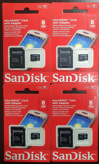 Lote 4 Peças Cartão Memória Micro Sd Sandisk 8gb Original