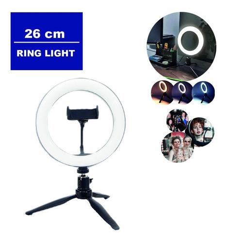 Ring Light Portátil De Mesa Tripé Controle Iluminador 26cm