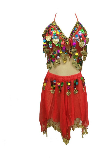 Conjunto Paetê Pastilhas Coloridas Dança Fantasia Carnaval
