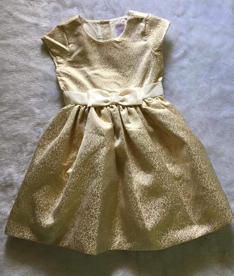 Vestido De Festa Infantil Gymboree Dourado/marfim Imp. Usa