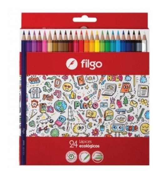 Lapiz Lapices Filgo Sigma Color Caja X 24 Colores Largos